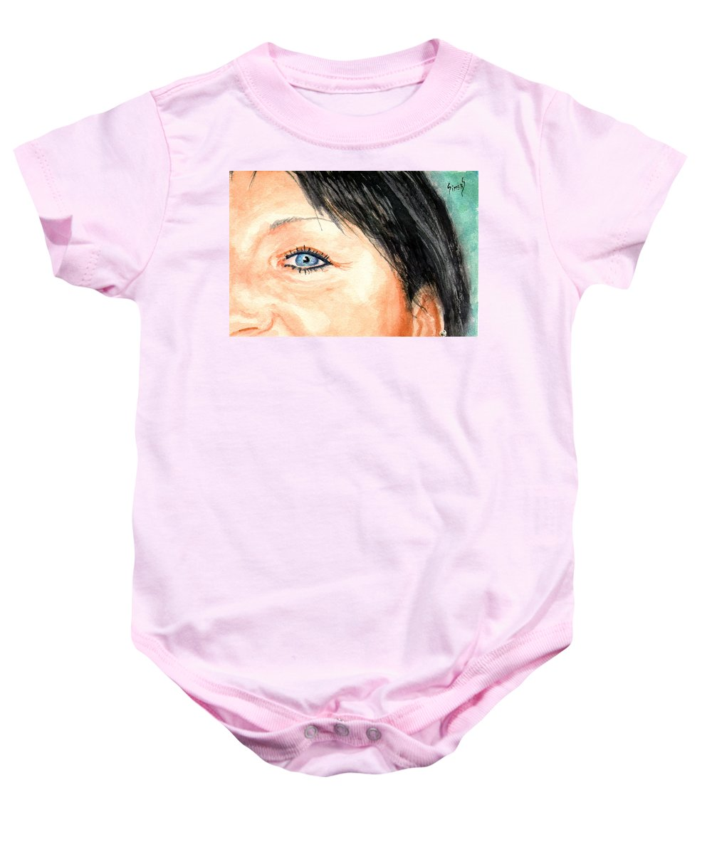 Tami Baby Onesie featuring the painting The Eyes Have It - Tami by Sam Sidders