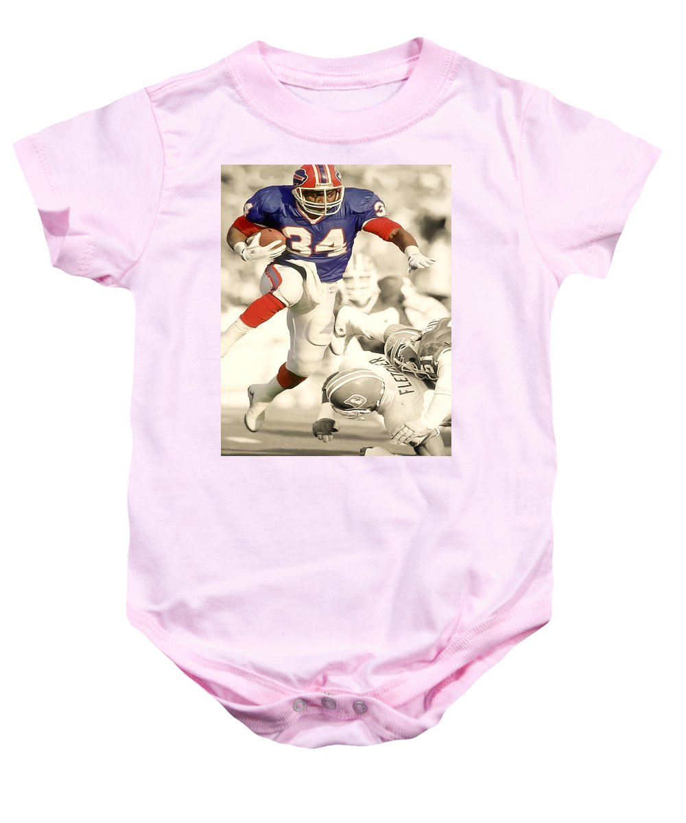 Thurman Thomas Baby Onesie featuring the digital art Thurman Thomas by Brian Reaves
