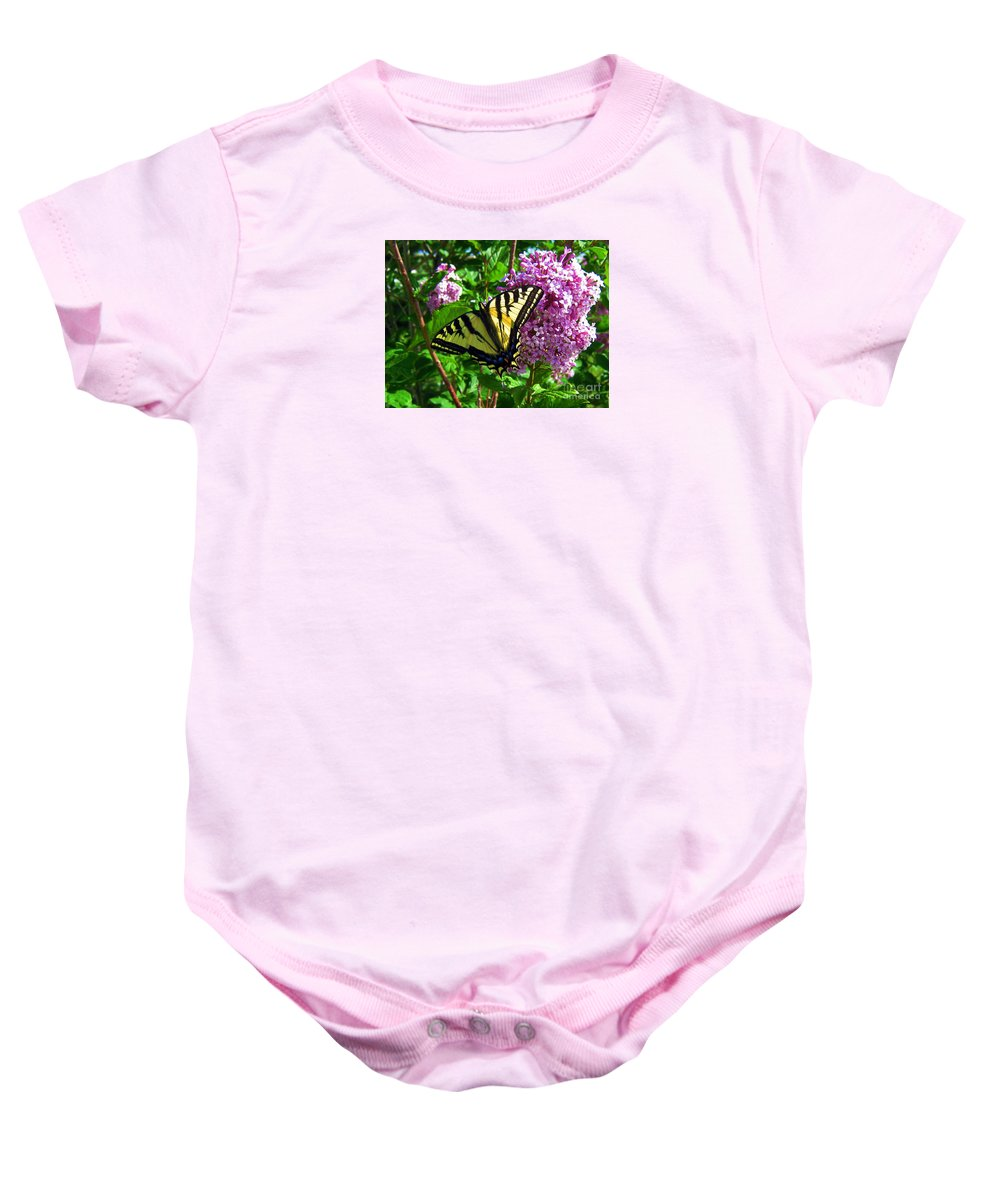 Nature Baby Onesie featuring the photograph Tiger Swallowtail by Janice Westerberg