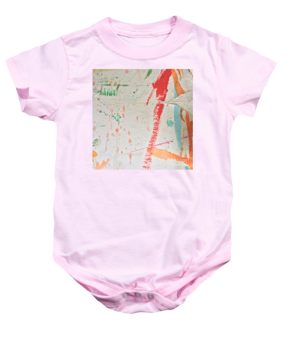 Red Baby Onesie featuring the painting Torn To Red Line by Robin Maria Pedrero