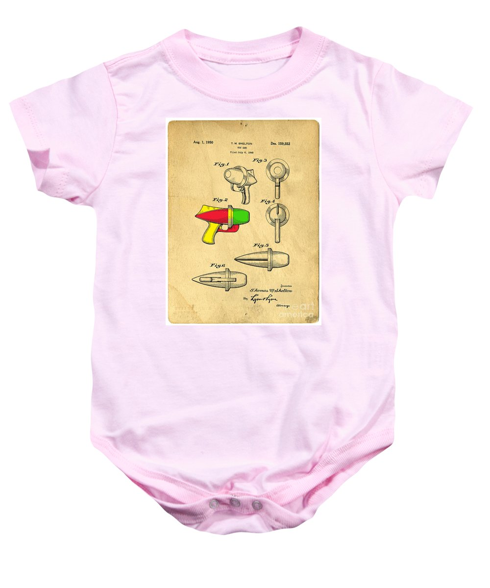 Toy Baby Onesie featuring the digital art Toy Ray Gun Patent II by Edward Fielding