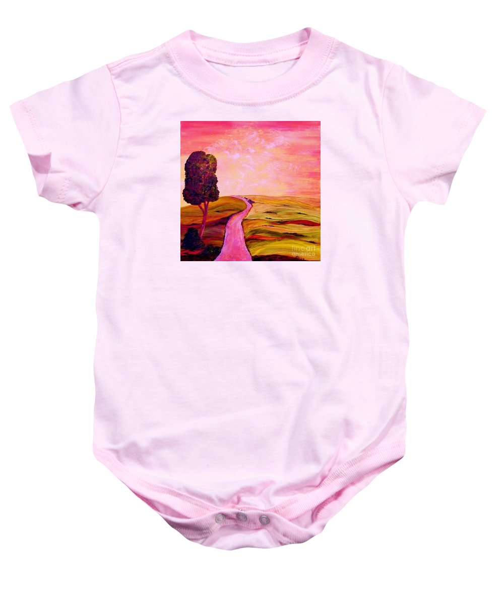 Tuscany Baby Onesie featuring the painting Tuscan Skies ... An Impressionist View by Eloise Schneider Mote