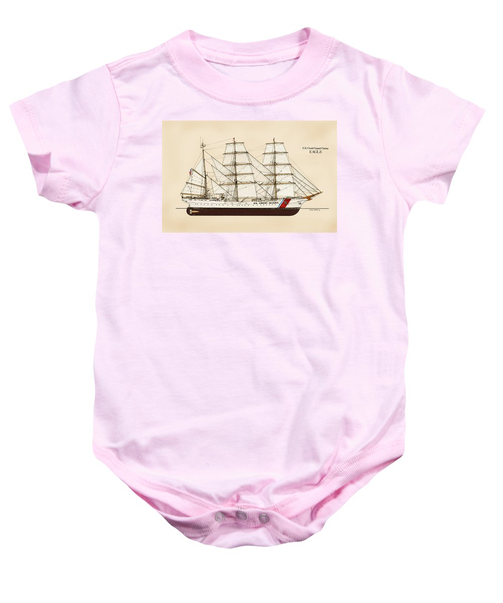Uscg Baby Onesie featuring the drawing U. S. Coast Guard Cutter Eagle - Color by Jerry McElroy