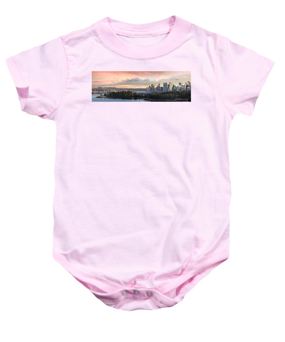 Vancouver Baby Onesie featuring the photograph Vancouver Bc City Skyline And Stanley Park by Jit Lim