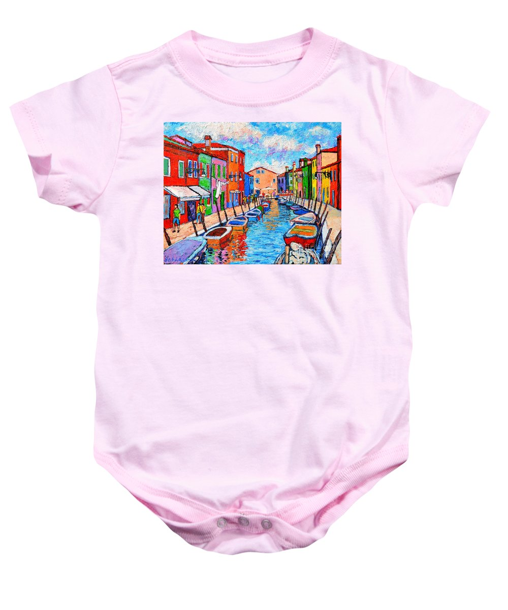 Venice Baby Onesie featuring the painting Venezia Colorful Burano by Ana Maria Edulescu