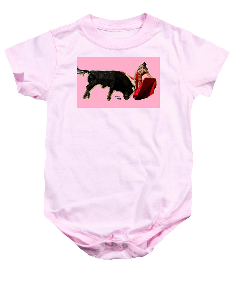 Toreadora Baby Onesie featuring the painting Veronica Rodriquez by Bruce Nutting