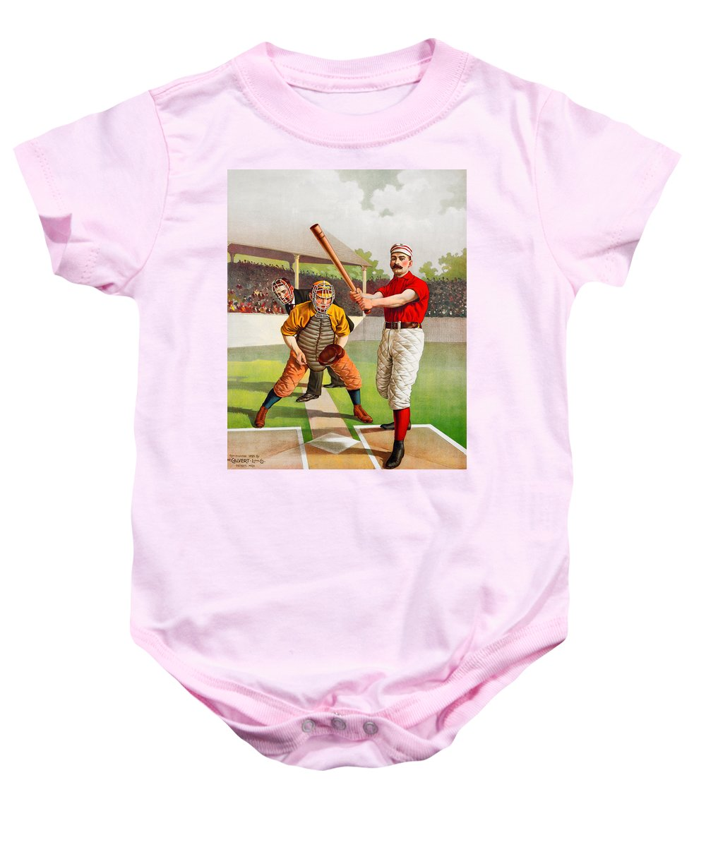 Baseball Baby Onesie featuring the painting Vintage Baseball Print by John Farr
