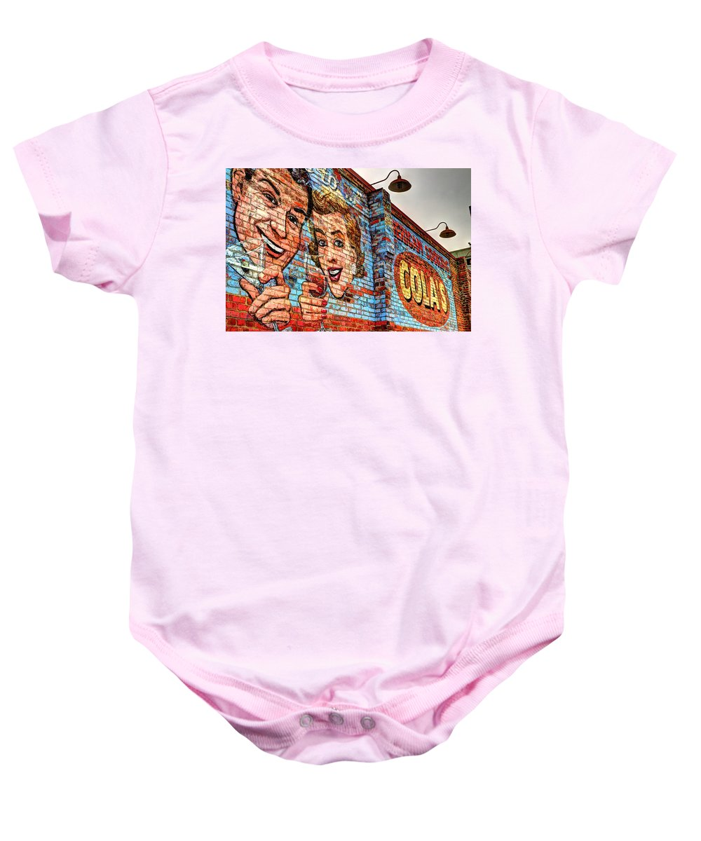 Vintage Building Mural Baby Onesie featuring the photograph Vintage Building Art by Michael Eingle
