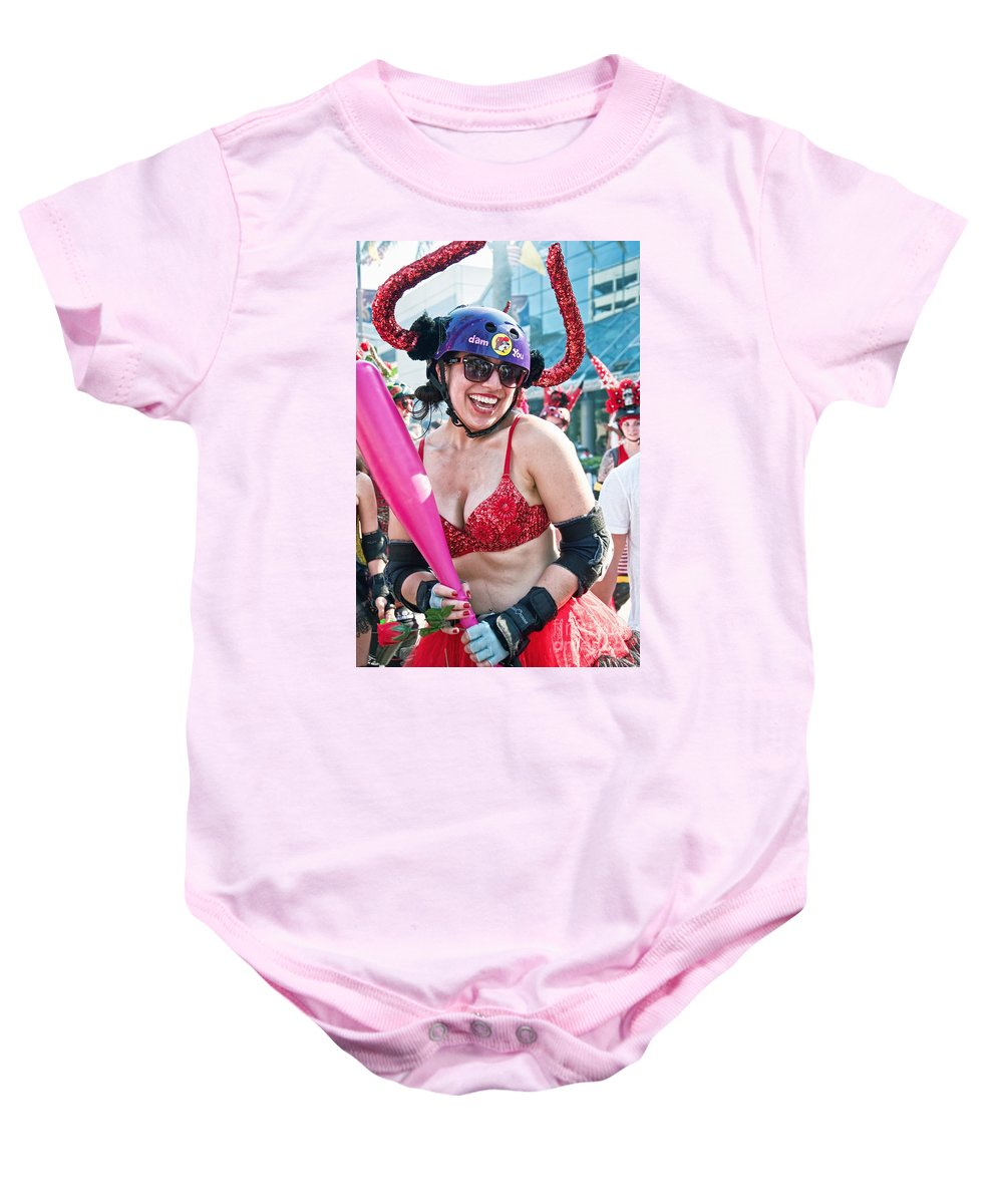 Running Baby Onesie featuring the photograph Vivacious Bull In New Orleans Running Of The Bulls by Kathleen K Parker
