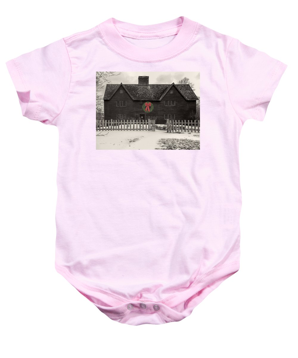 Whipple House Baby Onesie featuring the photograph Whipple House Christmas by David Stone