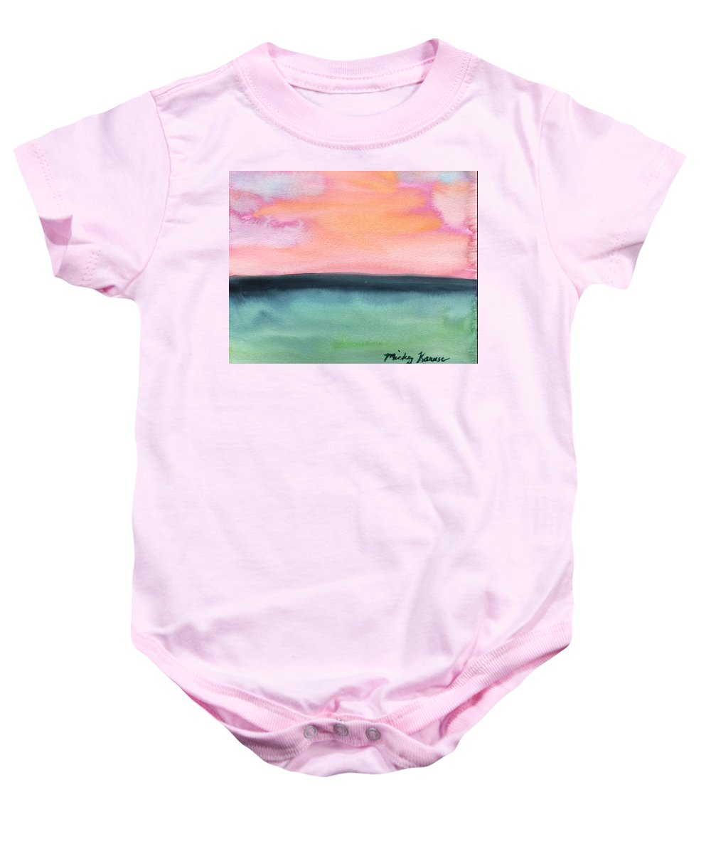 Sea Baby Onesie featuring the painting Whispy Pink/organge Sky by Mickey Krause