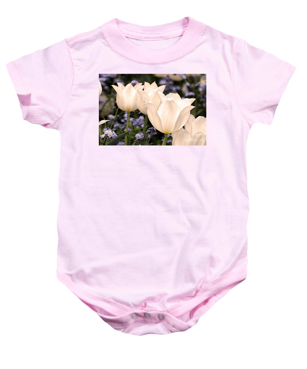 Tulips Baby Onesie featuring the digital art White Tulip by Paul Gentille