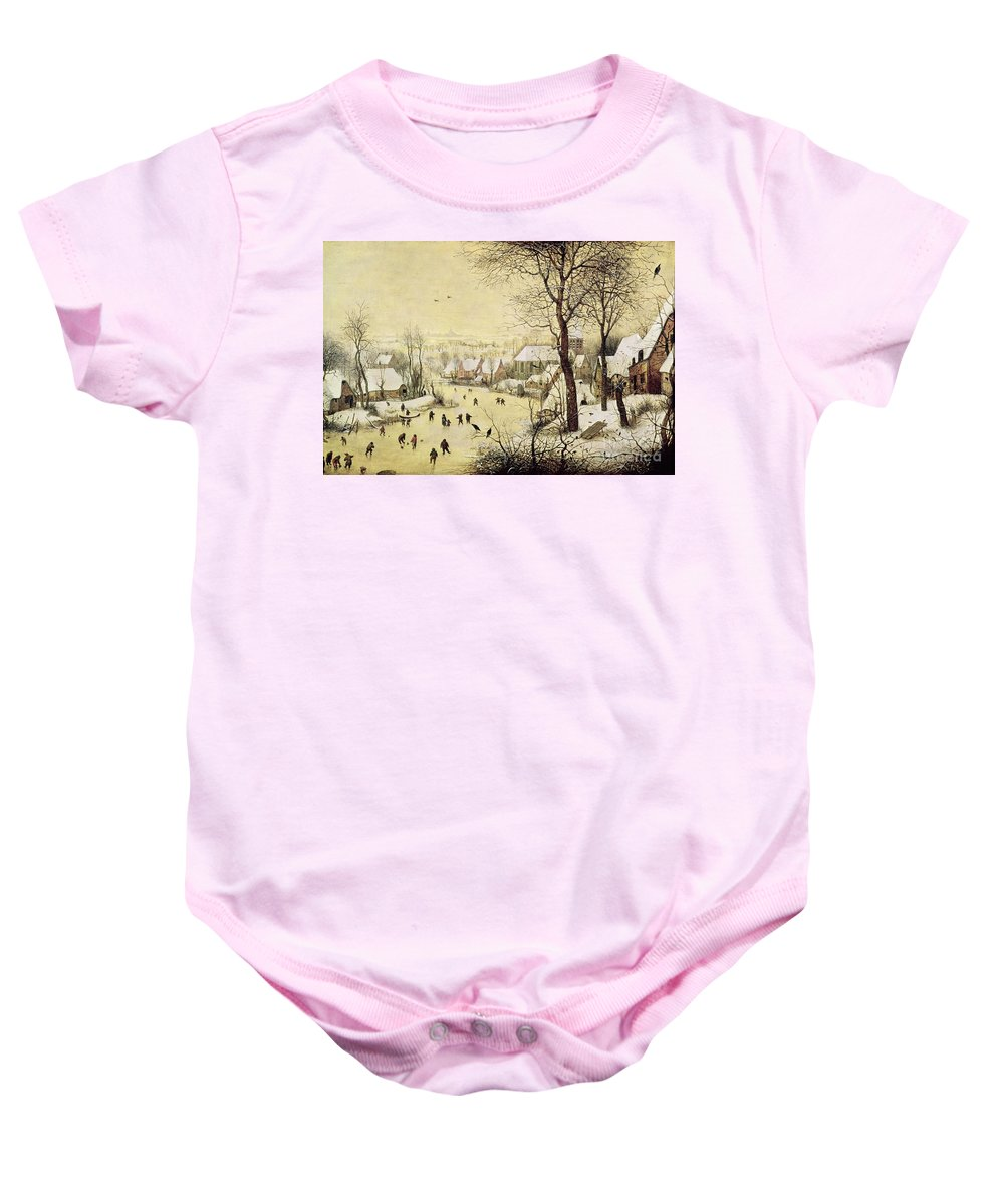 Frozen River Baby Onesie featuring the painting Winter Landscape With Skaters And A Bird Trap by Pieter Bruegel the Elder