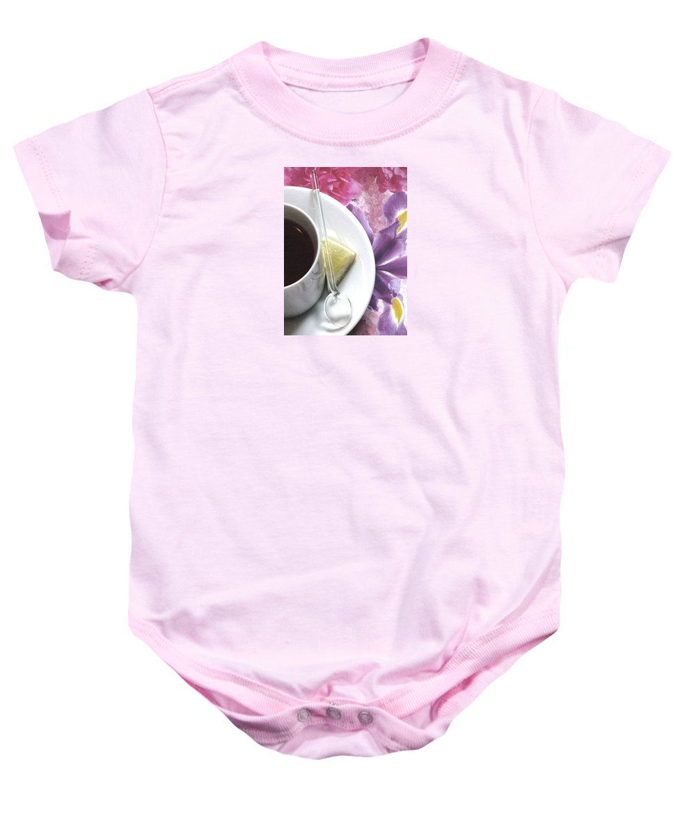 White Tea Cups Baby Onesie featuring the photograph With Lemon by Angela Davies