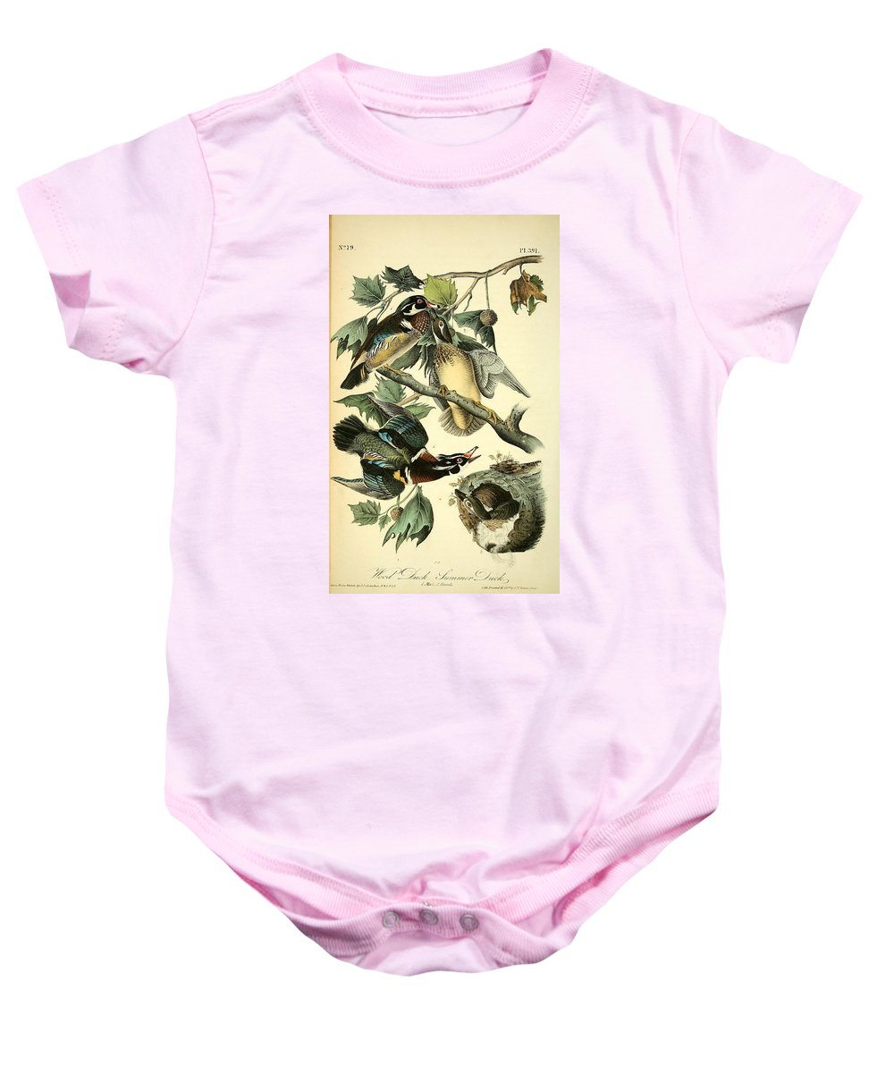 Wood Baby Onesie featuring the painting Wood Ducks by Philip Ralley