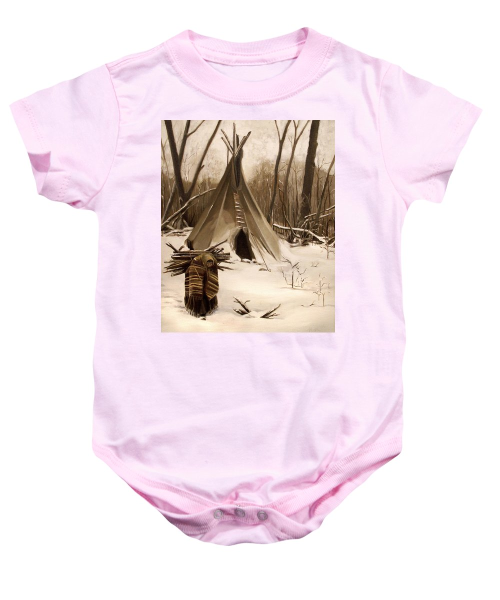 Native American Baby Onesie featuring the painting Wood Gatherer by Nancy Griswold
