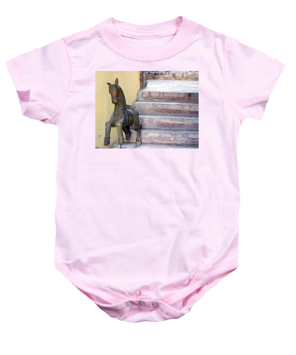 Baby Onesie featuring the photograph Wooden Horses 2 by Cathy Anderson