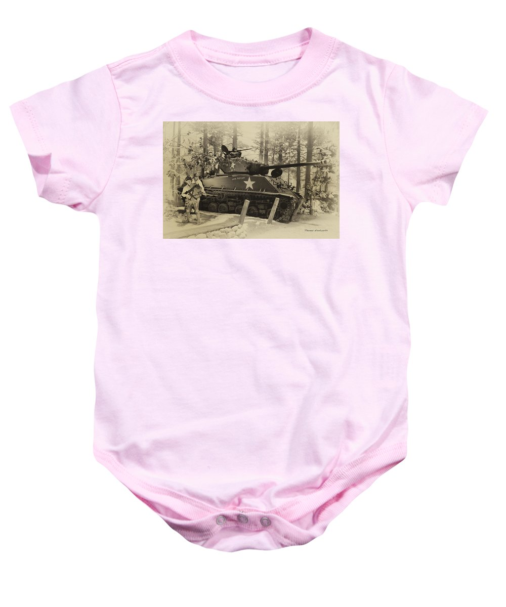 Us Army Baby Onesie featuring the photograph Ww II Battle Of The Bulge 02 by Thomas Woolworth