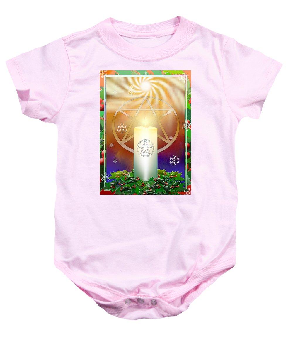 Yule Baby Onesie featuring the digital art Yule Sun by Melissa A Benson