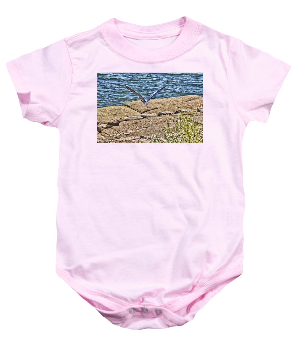 Blue Heron Baby Onesie featuring the photograph Airborne by Douglas Barnard