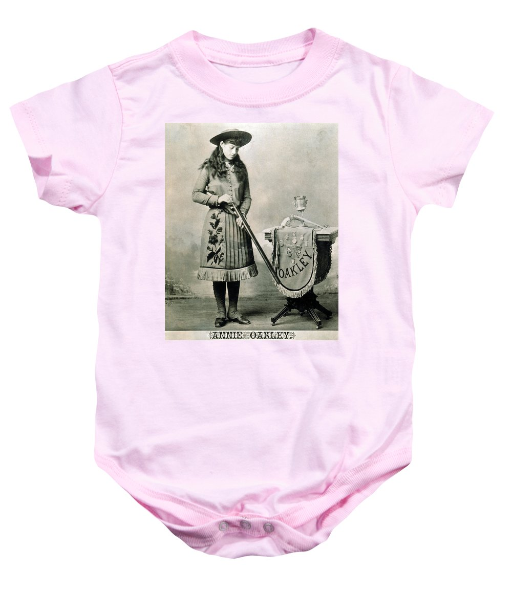 1890 Baby Onesie featuring the photograph Annie Oakley (1860-1926) by Granger
