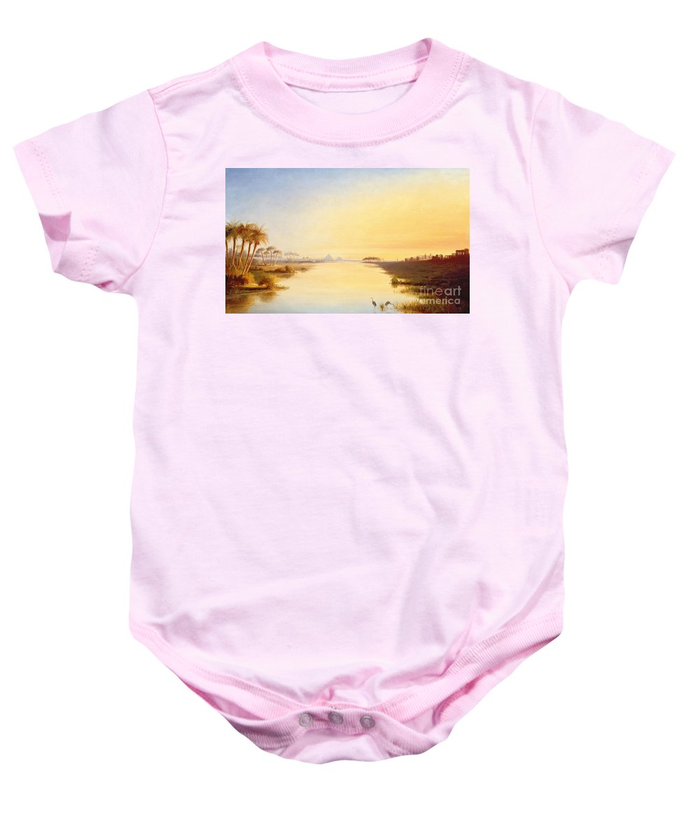 Egyptian Oasis Baby Onesie featuring the painting Egyptian Oasis by John Williams