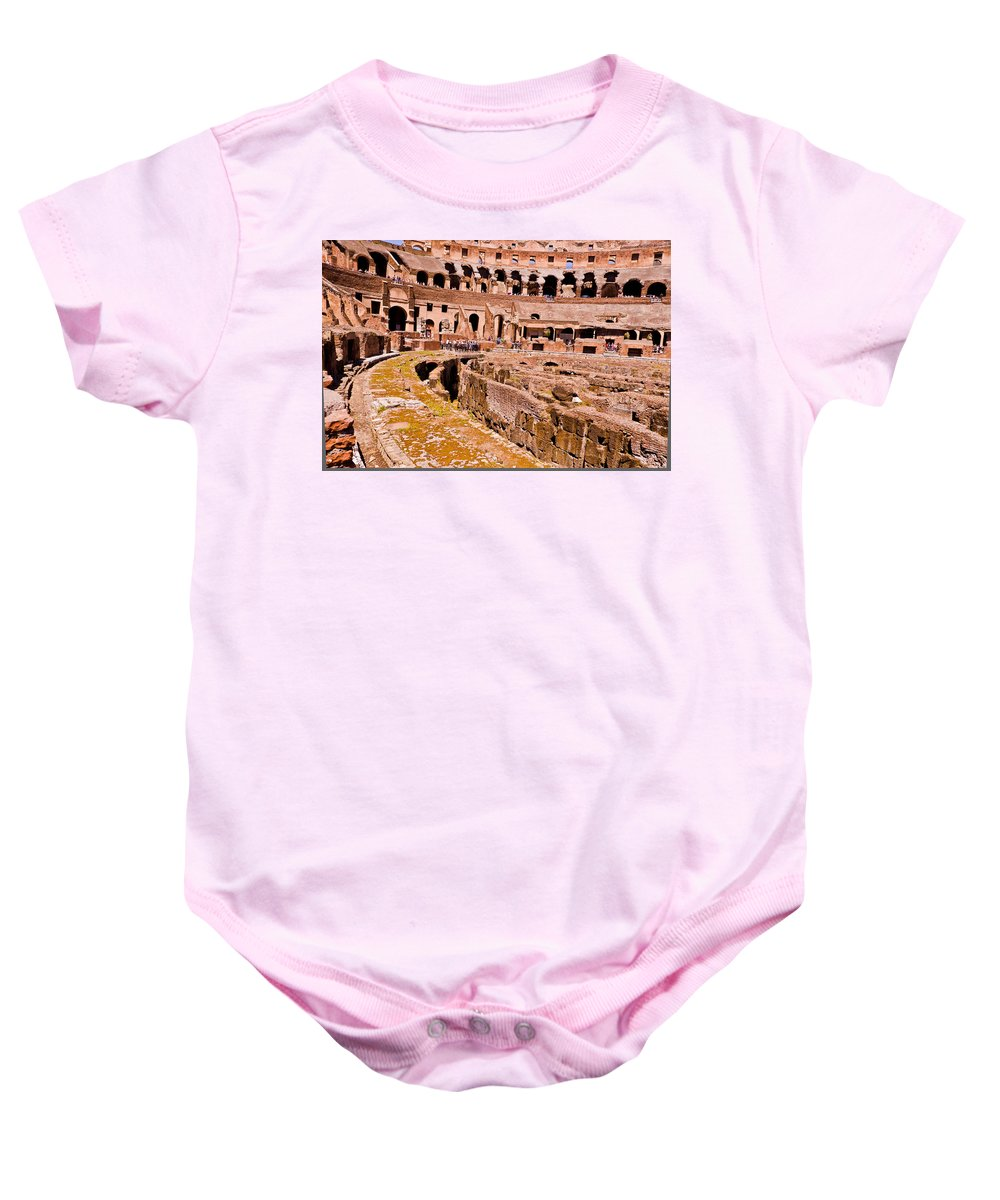 Rome Baby Onesie featuring the photograph Roman Coliseum by Jon Berghoff