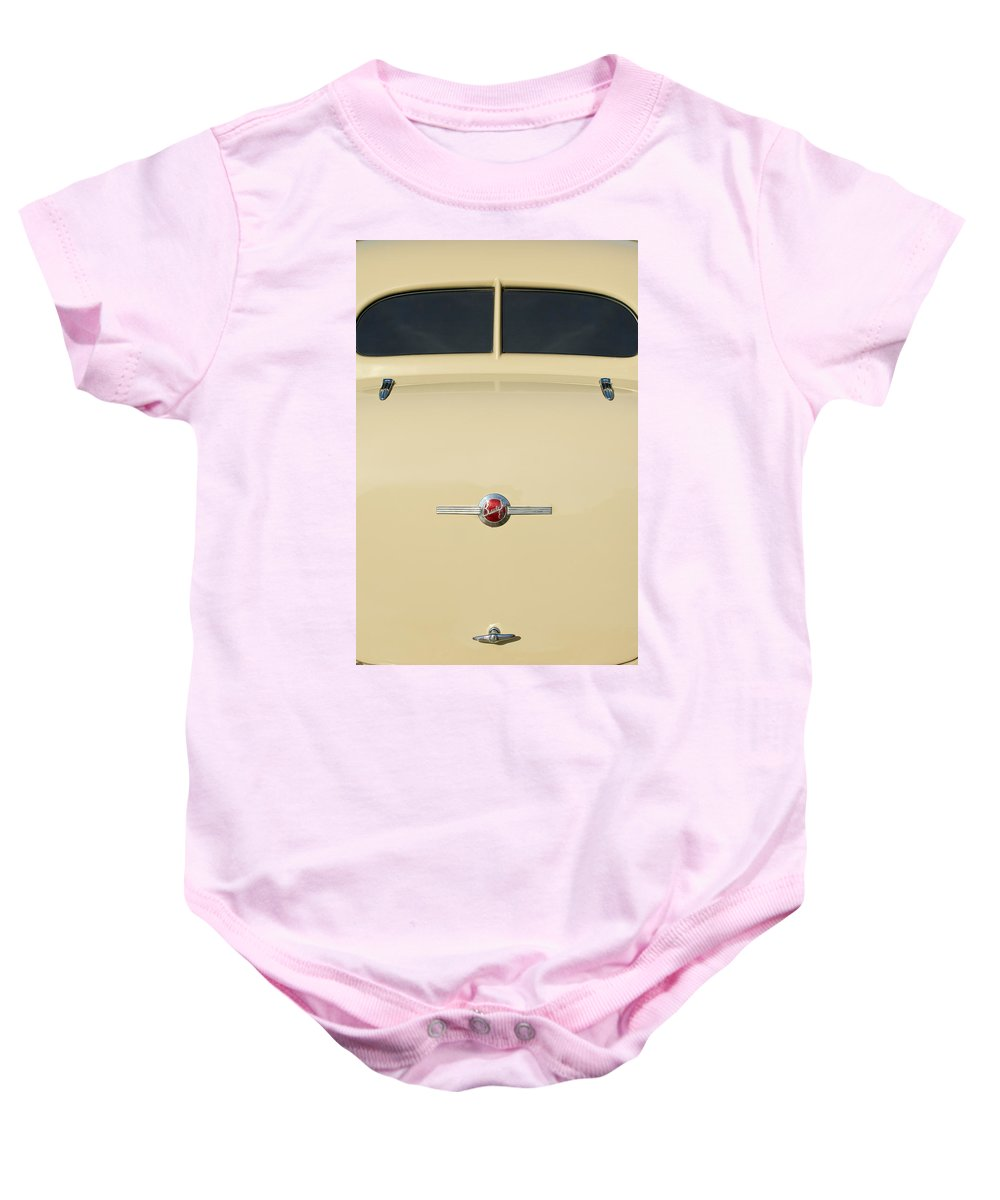 1936 Buick 40 Series Baby Onesie featuring the photograph 1936 Buick 40 Series Rear Emblem by Jill Reger