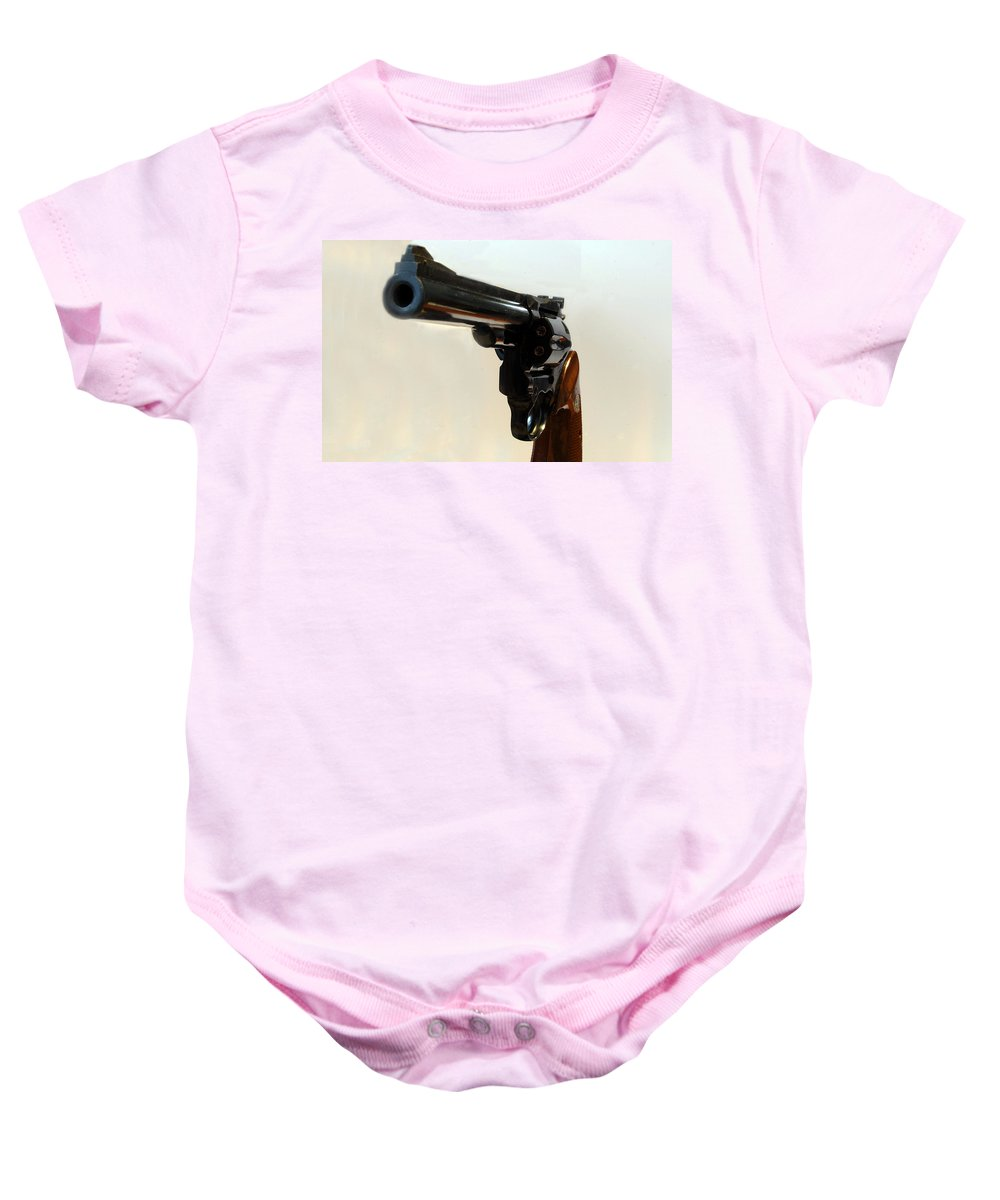 Weapon Baby Onesie featuring the photograph 357 Mag by Skip Willits