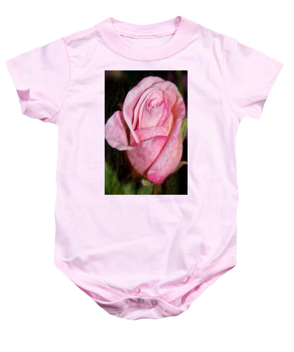 Pink Baby Onesie featuring the photograph A Kiss By A Rose by Angelina Vick