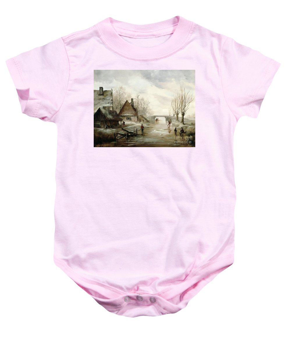 A Winter Landscape With Figures Skating In The Foreground Baby Onesie featuring the painting A Winter Landscape With Figures Skating by Dutch School