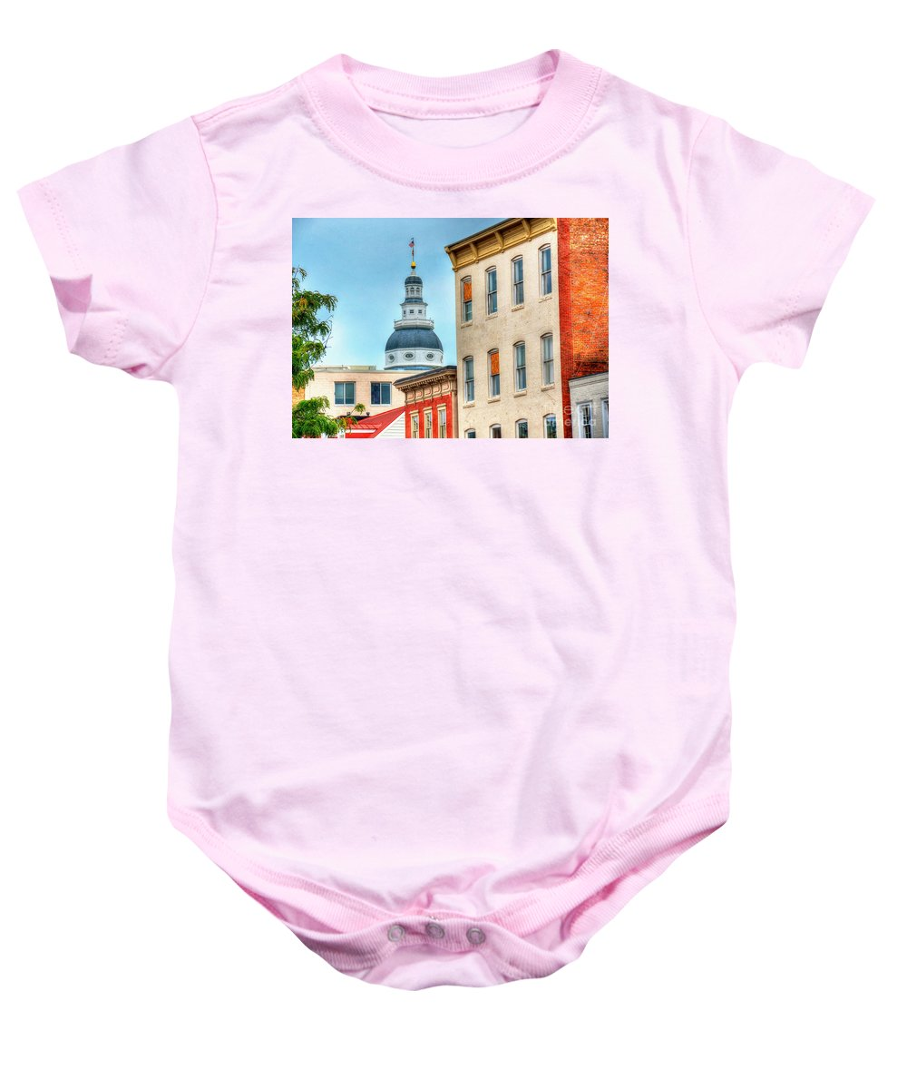 Annapolis Baby Onesie featuring the photograph Annapolis Duomo by Debbi Granruth