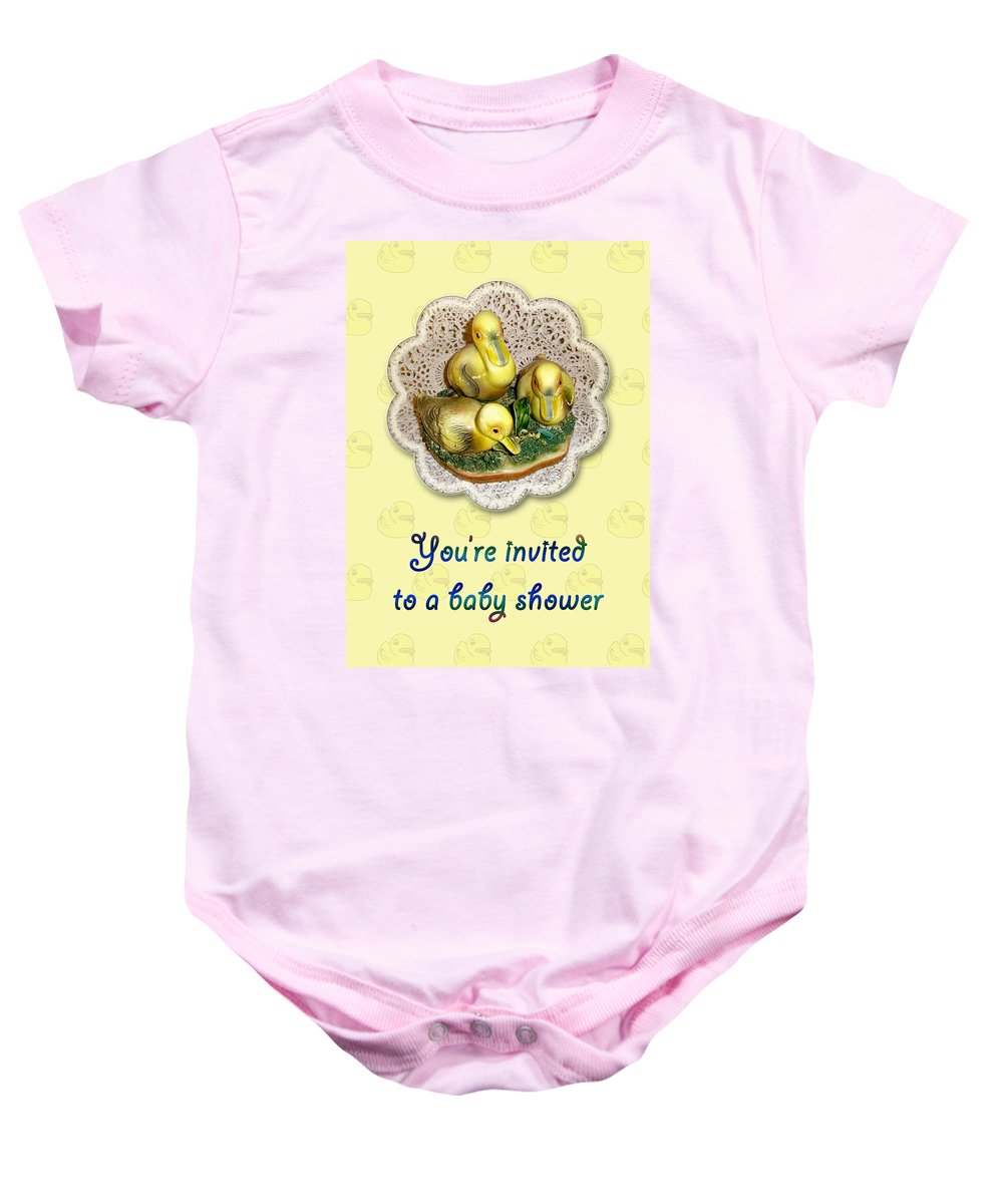 Baby Baby Onesie featuring the photograph Baby Shower Invitation - Yellow Ducklings Figurine by Mother Nature