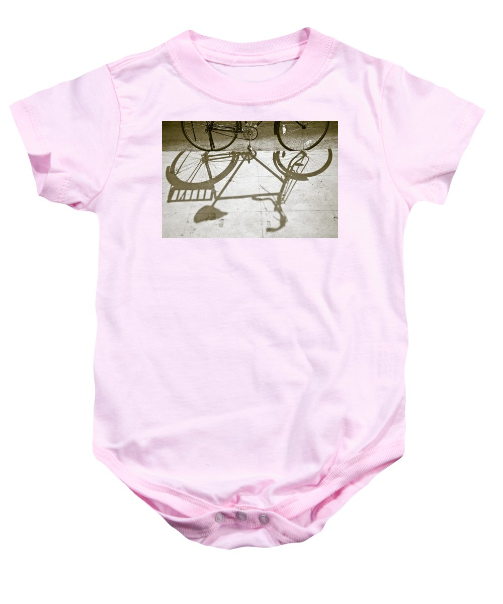 Bicycles Baby Onesie featuring the photograph Bicycle Shadow by David DuChemin