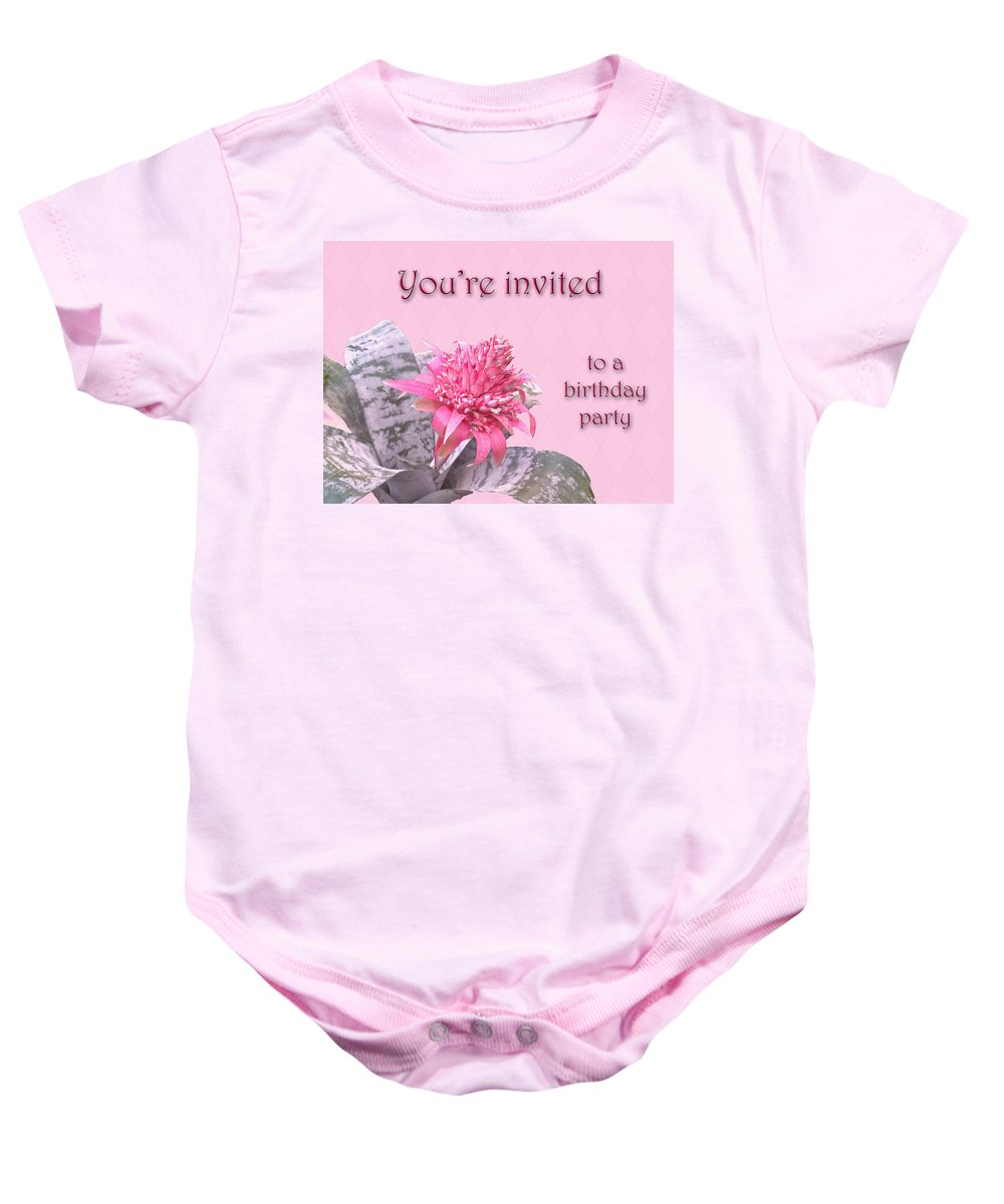 Invitation Baby Onesie featuring the photograph Birthday Party Invitation - Pink Flowering Bromeliad by Mother Nature