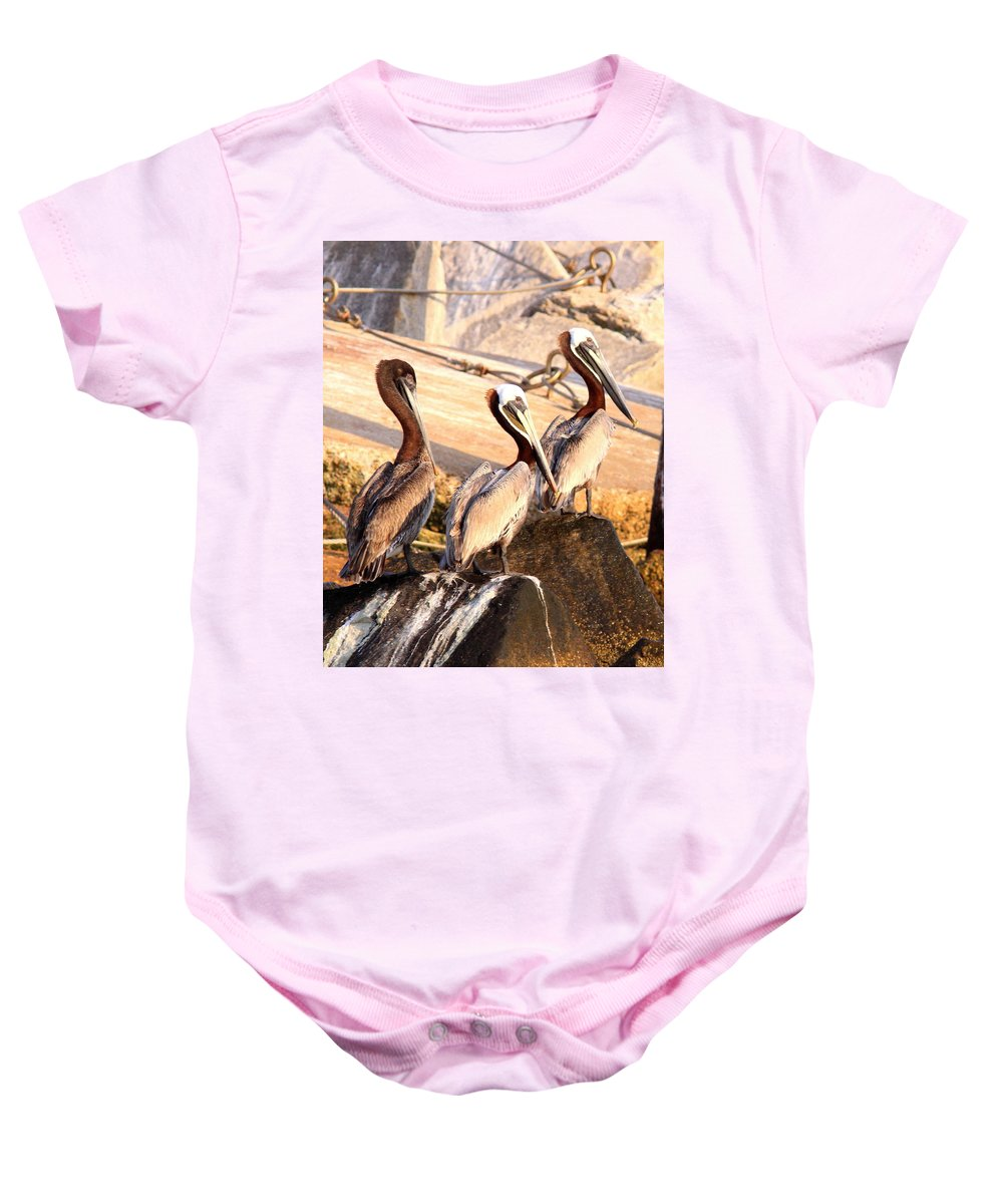 Bird Baby Onesie featuring the photograph Brown Pelican - Holding Things Together by Travis Truelove