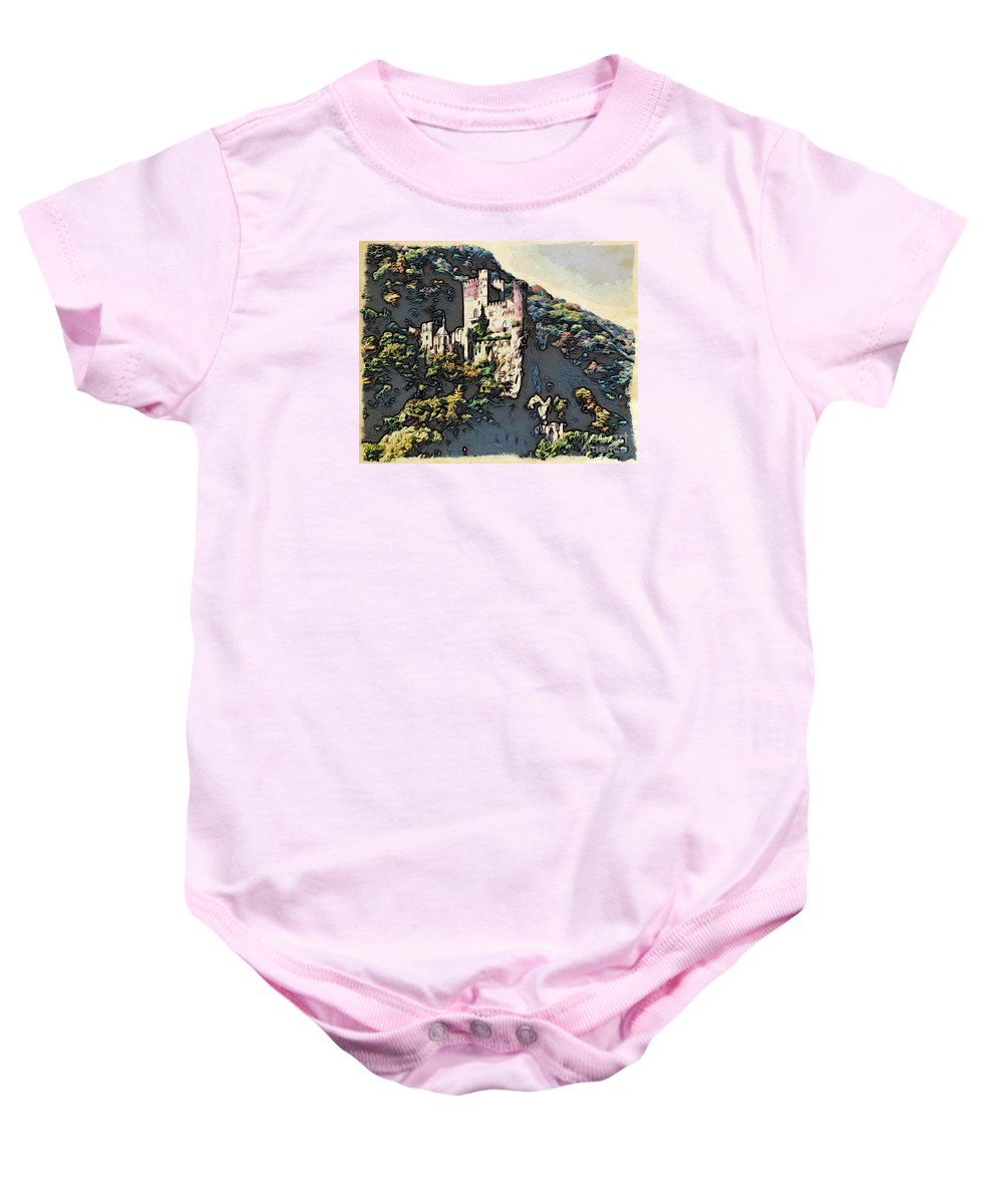 Castle Baby Onesie featuring the photograph Castle Above The Rhine In Germany by Phyllis Kaltenbach