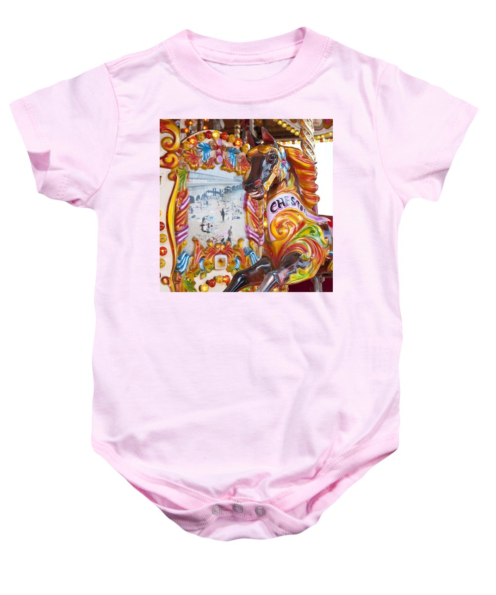 Horse Baby Onesie featuring the photograph Chester The Carousel Horse by Beth Riser