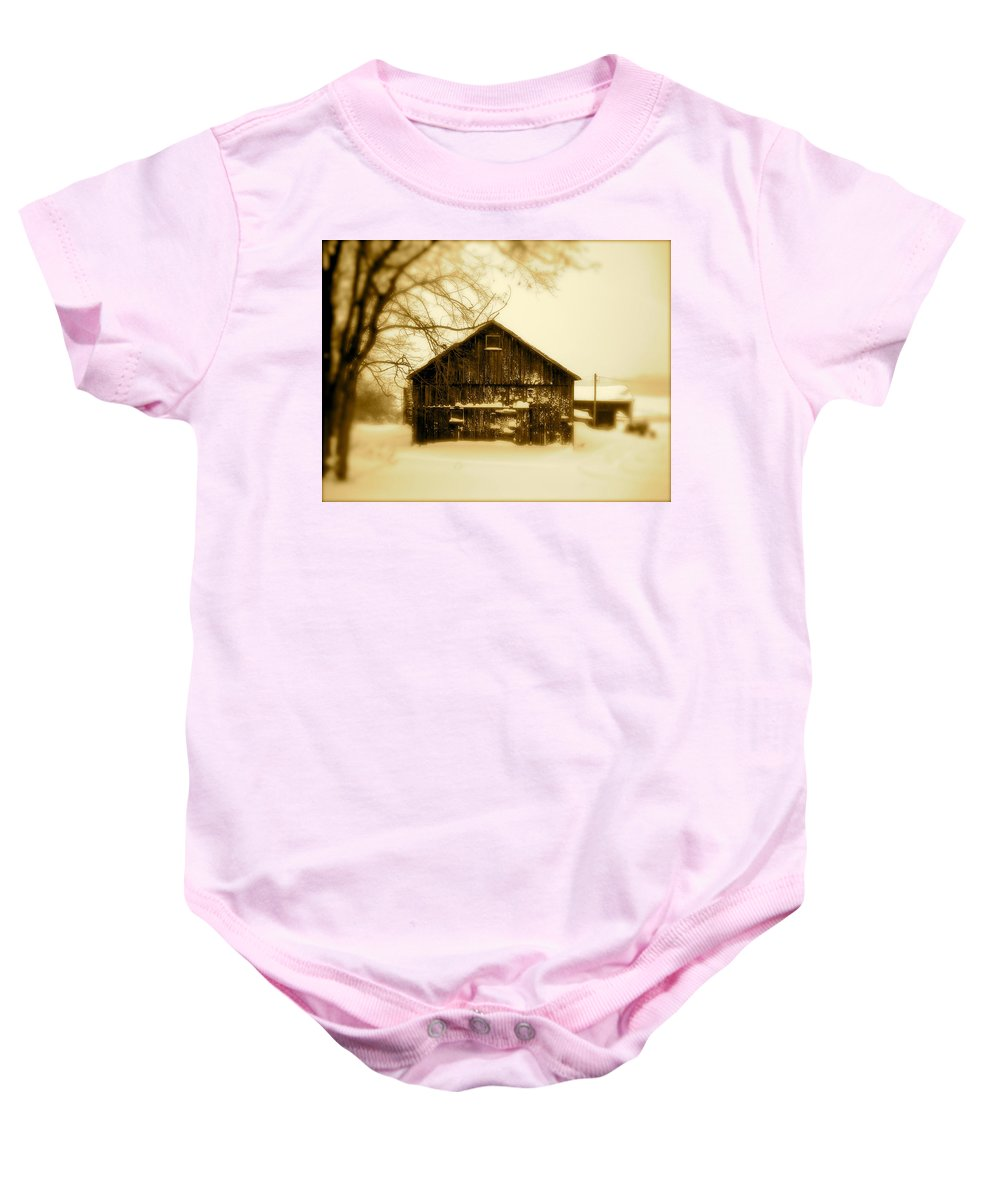 Landscape Baby Onesie featuring the photograph Cold On The Ridge by Arthur Barnes