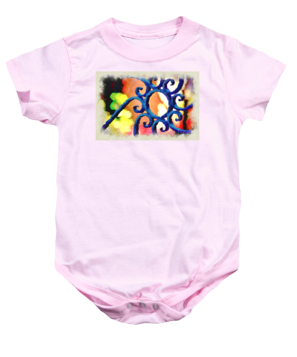Ironwork Baby Onesie featuring the photograph Colorful Ironwork by Donna Bentley