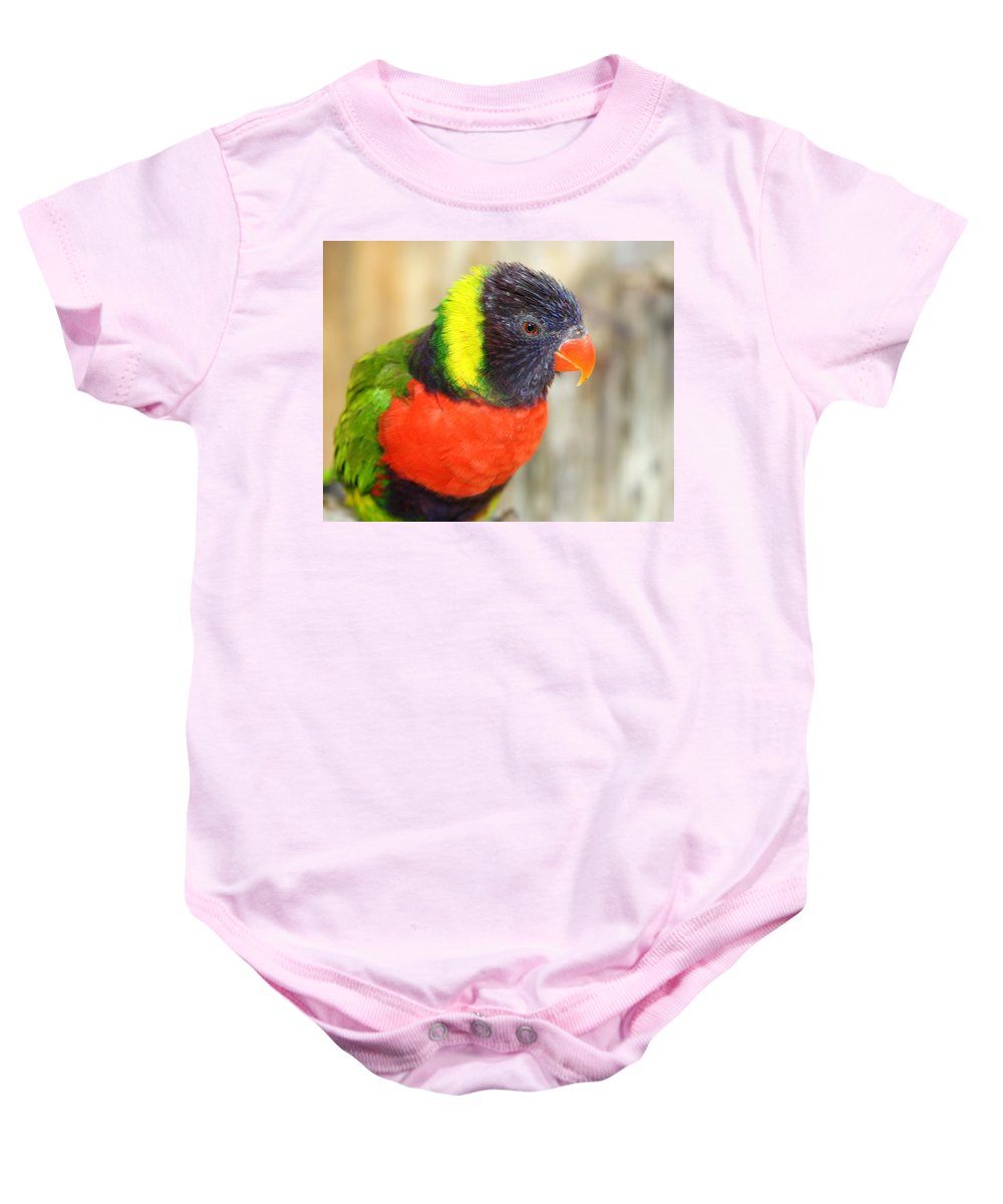 Lorikeet Baby Onesie featuring the photograph Colorful Lorikeet Parrot by Terry Fleckney