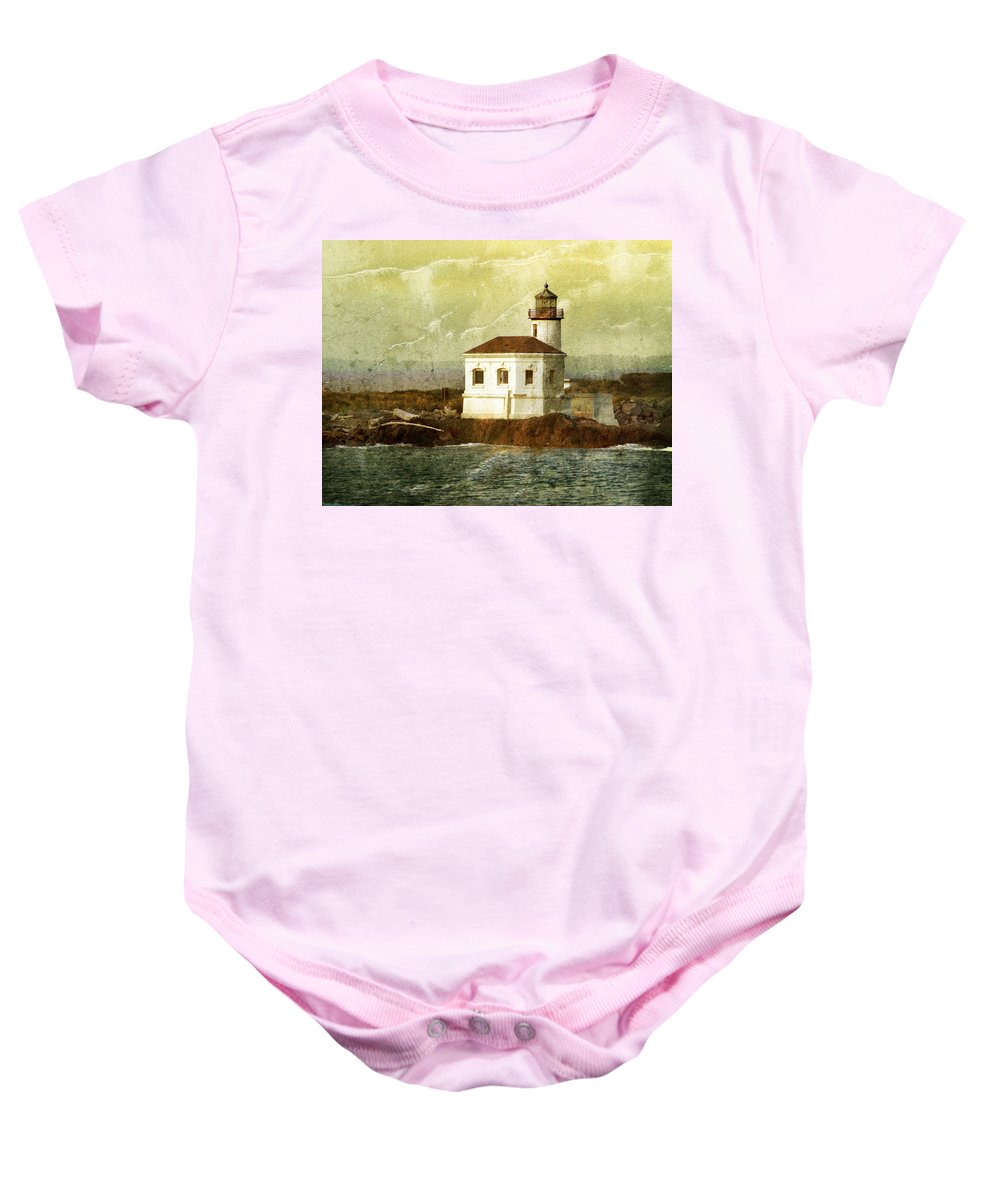 Lighthouse Baby Onesie featuring the photograph Coquille River Lighthouse by Jill Battaglia