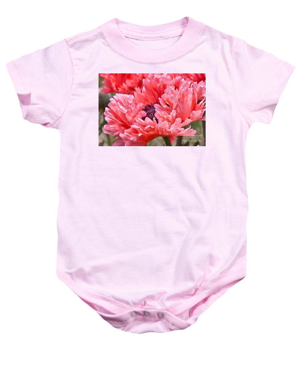 Coral Poppy Baby Onesie featuring the photograph Coral Poppy by Jill Smith