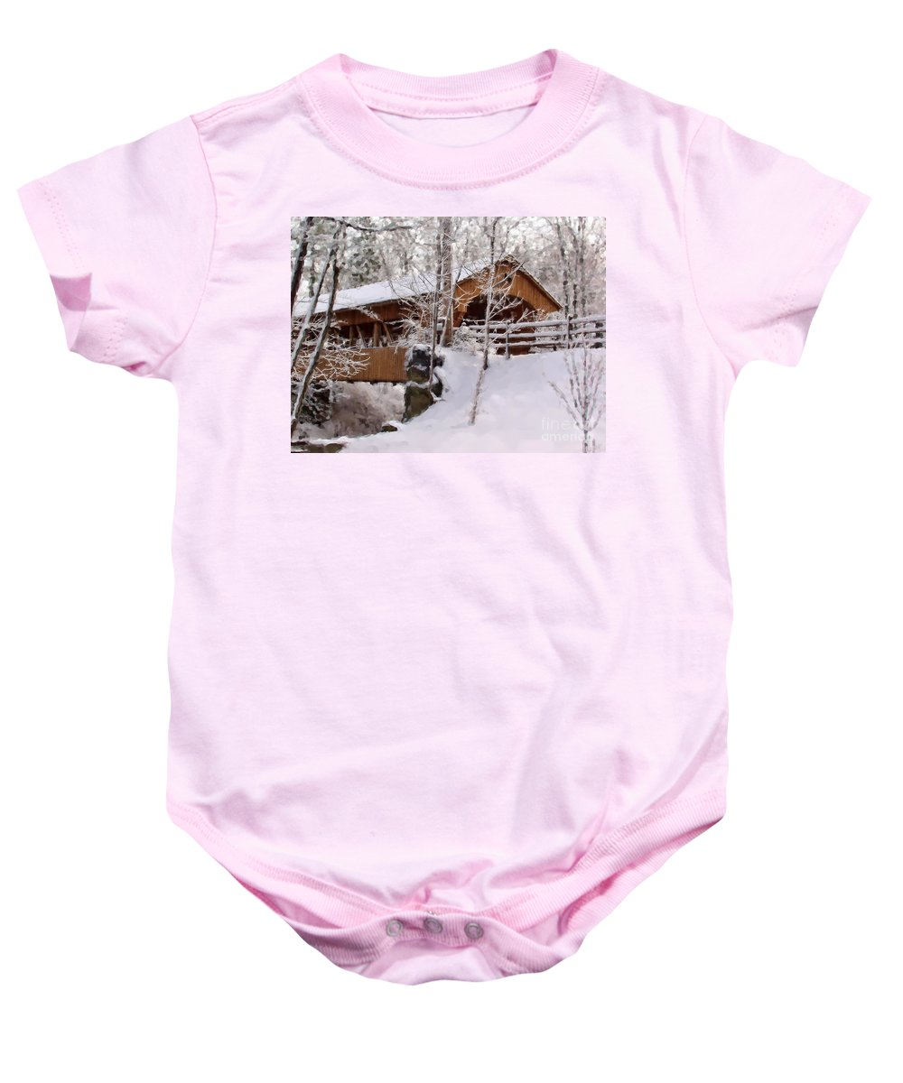 Covered Bridge Baby Onesie featuring the photograph Covered Bridge At Olmsted Falls - 2 by Mark Madere