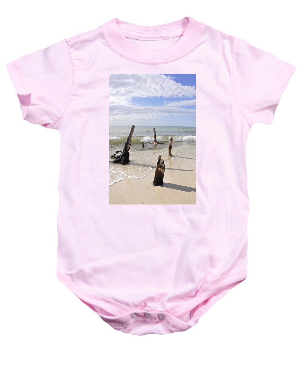 Driftwood Baby Onesie featuring the photograph Driftwood Stands Watch by Christine Stonebridge