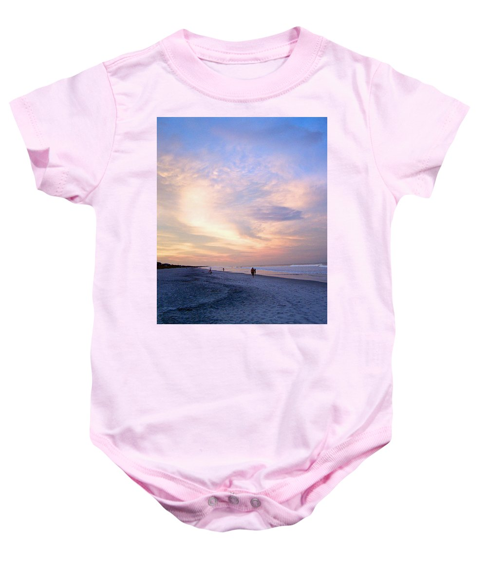 Beach Baby Onesie featuring the photograph Early Evening Beach Walk by Patricia Taylor