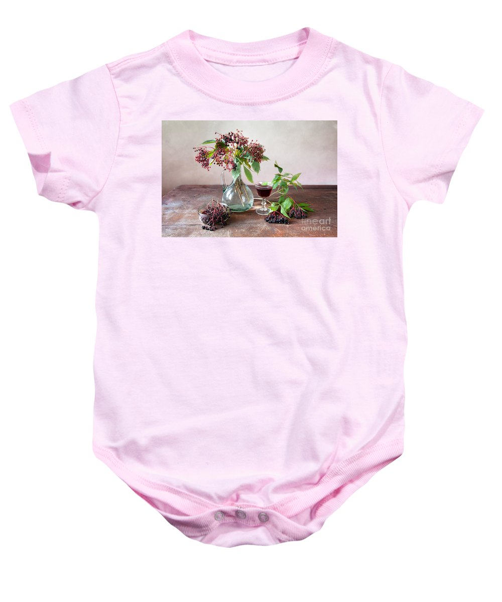 Autumn Baby Onesie featuring the photograph Elderberries 03 by Nailia Schwarz