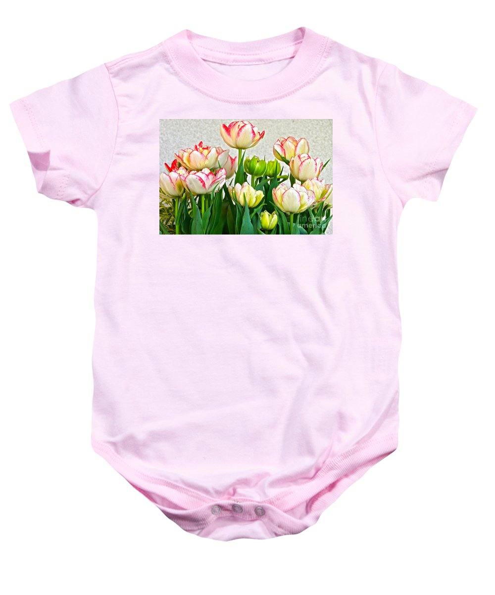 White And Red Tulips Baby Onesie featuring the photograph Ensemble by Byron Varvarigos