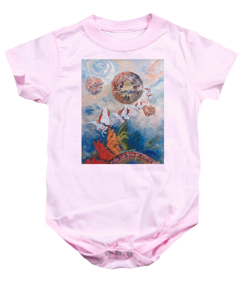 Freedom Baby Onesie featuring the painting Freedom - The Beginning Of All Being by Eva-Maria Di Bella