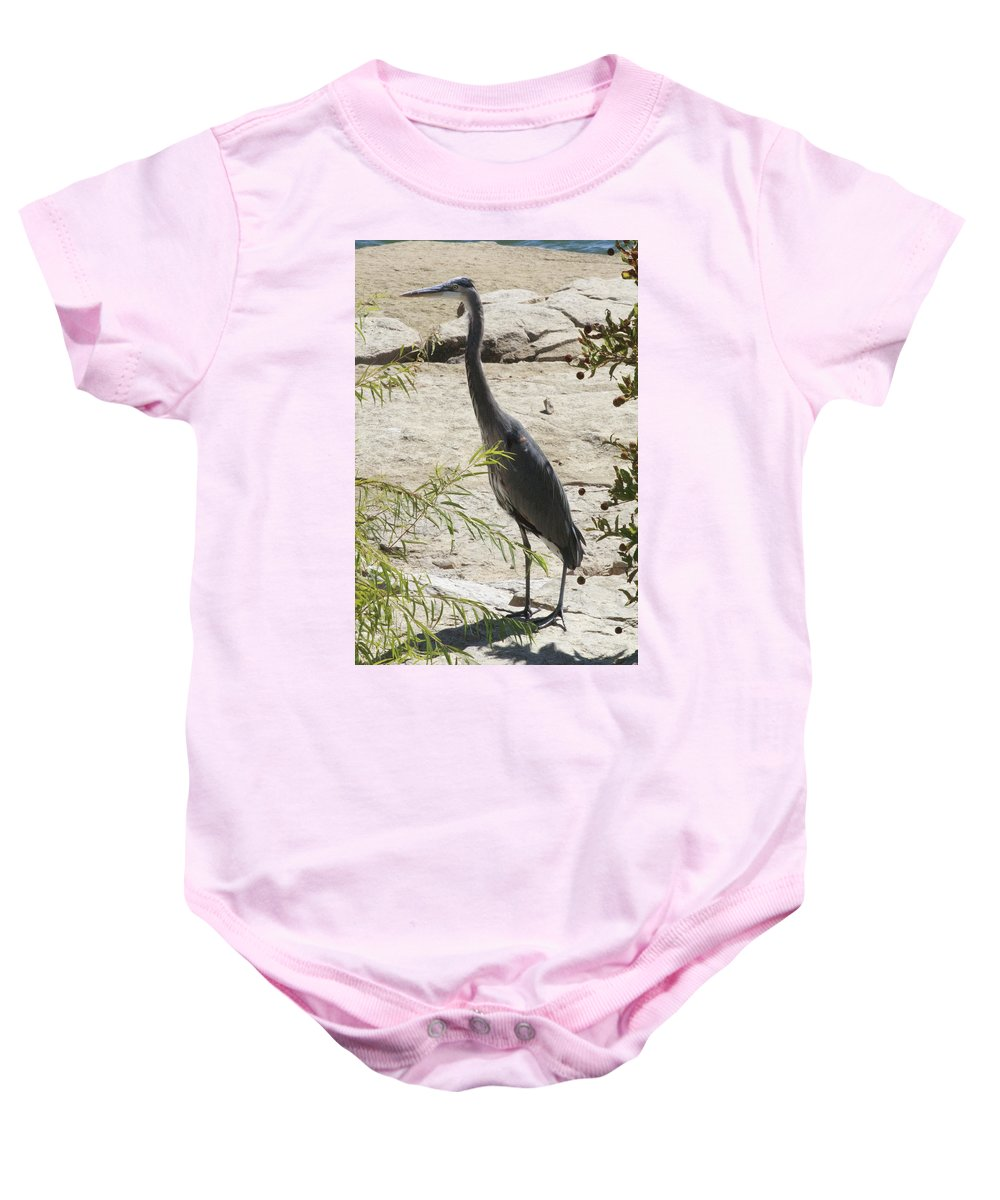 Blue Heron Baby Onesie featuring the photograph Freezeframe by Douglas Barnard